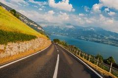Scenic Swiss Road Lake Thun Royalty Free Stock Photography