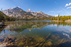 Scenic Taggart Lake Teton Reflection Stock Images