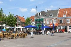 People at scenic cosy terraces at the Hof in Amersfoort,Netherlands Royalty Free Stock Images