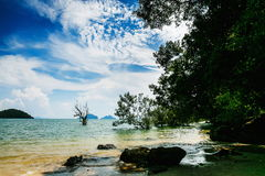 Scenic thai beach. Scenic beach with rock in picturesque Thailand Stock Photos