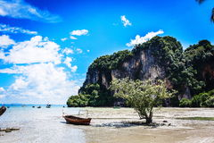 Scenic thai beach. Scenic beach with rock in picturesque Thailand Royalty Free Stock Photography