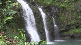 Scenic Three Bears Waterfall on Maui. The scenic three bears waterfall along the road to Hana on the island of Maui stock video