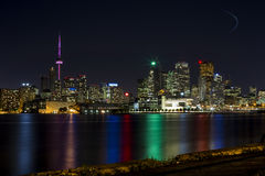 Scenic Toronto By Night. Toronto skyline at night, taken from a local pier Stock Images