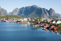 Scenic town of Reine on Lofoten islands in Norway Stock Images