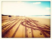 Scenic tracks. 4wheeling in beautiful Polihale, Kauai Royalty Free Stock Image