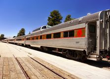 Scenic Train, Grand Canyon Railway Station, United States. Scenic train at the Grand Canyon Railway Station, tourist attraction. Desert mountains landscape stock images