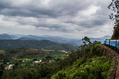 Scenic Train Ride with a Mountain View Between Kandy and Ella. In Sri Lanka stock photography