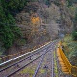 Scenic tram on Mount Koya in Kansai, Japan. Scenic tram rail tracks on Mount Koya in Kansai, Japan Stock Photos