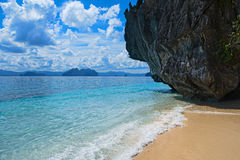 Scenic tropical beach, El Nido Palawan Philippines. Beautiful tropical beach. Scenic landscape with sandy beach sea and mountain island, El Nido, Palawan Royalty Free Stock Photo