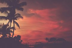 Scenic Tropical Beach Sunset Royalty Free Stock Images
