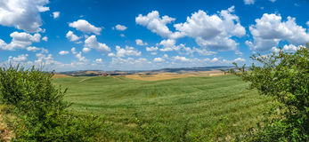 Scenic Tuscany landscape with rolling hills in Val d'Orcia, Ital Royalty Free Stock Photography