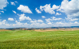 Scenic Tuscany landscape with rolling hills in Val d'Orcia, Itally Stock Photo