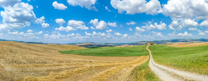 Scenic Tuscany landscape with rolling hills in Val d'Orcia, Italy Royalty Free Stock Photography