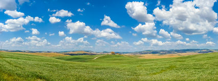 Scenic Tuscany landscape with rolling hills in Val dOrcia, Italy Royalty Free Stock Photo