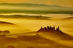 Scenic Tuscany landscape with rolling hills Stock Photos
