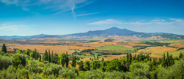Scenic Tuscany landscape on a sunny day, Val d'Orcia, Italy Royalty Free Stock Photo