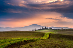 Scenic Tuscany landscape at sunrise, Val d'Orcia, Italy Royalty Free Stock Photos