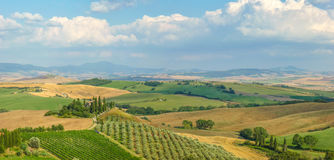 Scenic Tuscany landscape at sunset, Val d'Orcia, Italy Stock Images