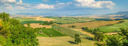 Scenic Tuscany landscape at sunset, Val d'Orcia, Italy Royalty Free Stock Image