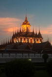 Scenic of twilight at Wat Rat Natda Ram Worawihan Monastery. Stock Images