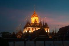 Scenic of twilight at Wat Rat Natda Ram Worawihan Monastery. Stock Photo