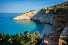 Scenic and unique beach Porto Kaziki at Levkada island, Greece Royalty Free Stock Image
