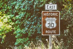 Scenic US 30 road sign in Oregon Columbia River Gorge Road Royalty Free Stock Photos