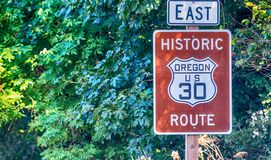Scenic US 30 road sign in Oregon Columbia River Gorge Road.  royalty free stock image