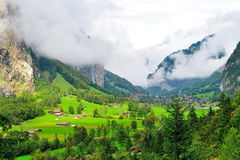 Scenic valley landscape in Lauterbrunnen Royalty Free Stock Images