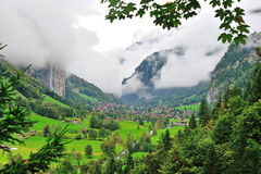 Scenic valley landscape in Lauterbrunnen Stock Photos