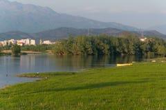 Scenic valley landscape with Shkodra city background. Albania stock photography