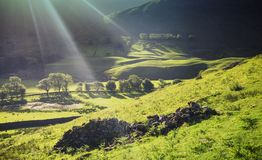 Scenic Valley in Morning Light. Kirkstone Pass in Morning Light Seeing from the Ridge of High Hartsop Dodd in Lake District National Park, UK Stock Photo