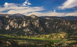 Estes Park Aerial. Scenic valley and snow-covered peaks under a blue sky with clouds in Estes Park, Colorado near the Rocky Mountain National Park. Aerial view stock images