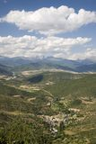 Scenic valley views in the Pyrenees Mountains, Spain on the way to The Monastery of San Juan de la Pena, Jaca, in Jaca, Huesca, Sp Stock Images
