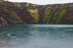 scenic veiw of volcanic crater lake Kerid stock image