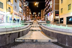 The scenic via Arabia at night, sightseeing in Cosenza, Italy Royalty Free Stock Photos