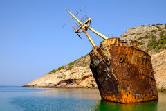 Scenic view of abandoned rusty shipwreck, Amorgos island Stock Images