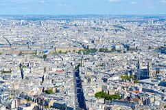 Scenic view from above from Montparnasse Tower on Paris, France royalty free stock images