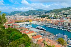 Scenic view from above of port area, Nice, France stock photo
