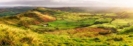 Panoramic view Castleton Peak district UK Royalty Free Stock Images