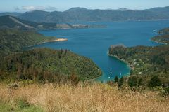 Scenic view across Marlborough Sounds. Royalty Free Stock Photography