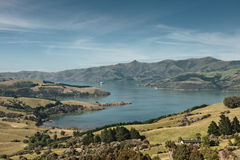 Scenic view at akaroa, new zealand Royalty Free Stock Images