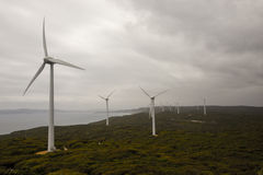 A scenic view of Albany Wind Farm in a cloudy weather. Albany Wind Farm near Torndirrup National Park in Albany, Western Australia Royalty Free Stock Image
