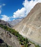 Scenic View of Karakoram Highway in Summer Royalty Free Stock Image