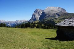 Scenic view of alp de siusi with distinctiv langkofel group Royalty Free Stock Images