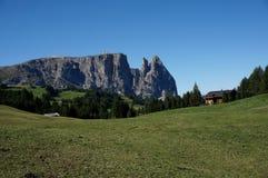 Scenic view of alp de siusi with distinctiv schlern peak Royalty Free Stock Photo
