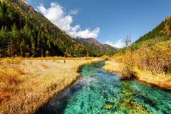 Scenic view of amazing river among fall fields and mountains Royalty Free Stock Photo