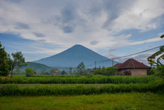 Scenic view of a Amed Bay in Bali with the volcano Mount Agung in the background. Stock Image