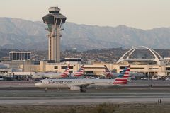 Scenic view of American Airlines jets at LAX. royalty free stock photo