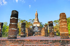 Scenic View Ancient Buddhist Temple Ruins and Buddha Statue of Wat Tra Phang Ngoen in The Sukhothai Historical Park, Thailand Stock Photos